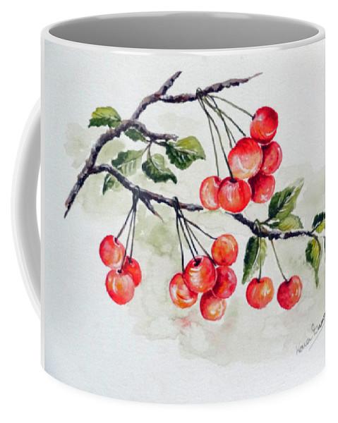 Cherries Coffee Mug featuring the painting Cherries by Karin Dawn Kelshall- Best