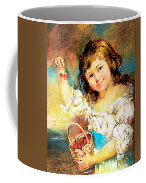 Girl Coffee Mug featuring the painting Cherry Basket Girl by Sher Nasser