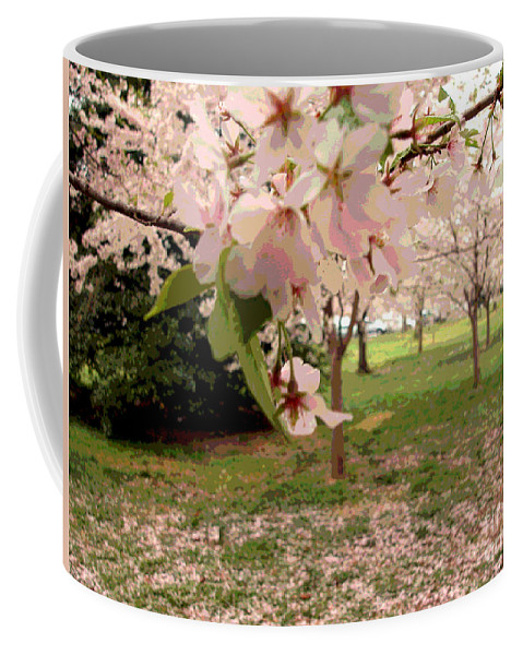 Digital Coffee Mug featuring the digital art Cherry Blossoms by Alys Caviness-Gober