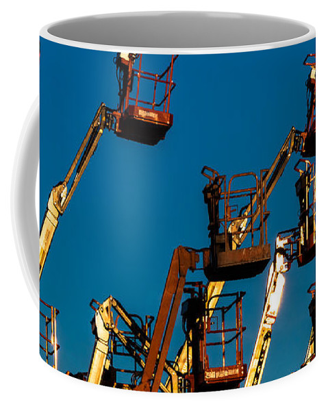 Boom Lifts Coffee Mug featuring the photograph Cherry Cherry Pickers by Ed Gleichman
