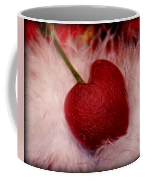 Heart Artred Cherry Heart Coffee Mug featuring the photograph Cherry Heart by Linda Sannuti