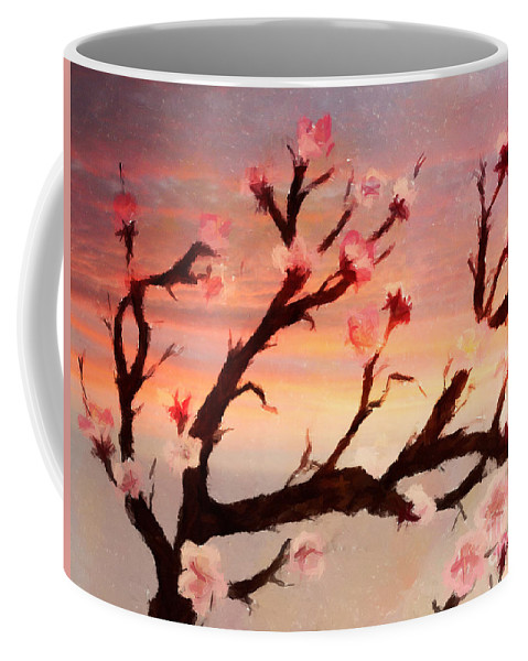 Cherry Tree Expresssive Brushstrokes Coffee Mug featuring the photograph Cherry Tree Expresssive Brushstrokes by Barbara Griffin