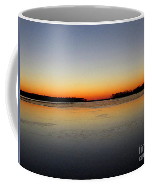 Chesapeake Bay Winter Sunrise Chesapeake Bay December Dawn Winter Riverscape Dundee Creek Sunrise Winter Waterscapes Winterscapes North American Natural Landscapes Balanced Nature Photography Symmetrical Nature Photography Winter Sky Skyscapes Clear Sky Sunrise Coffee Mug featuring the photograph Chesapeake Dawn Horizon by Joshua Bales