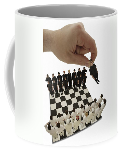 Win Coffee Mug featuring the photograph Chess Being Played With Little People by Darren Greenwood