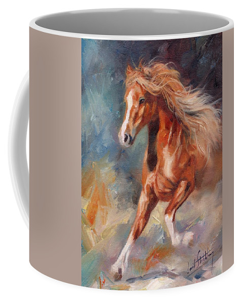 Horse Coffee Mug featuring the painting Chestnut Beauty by David Stribbling