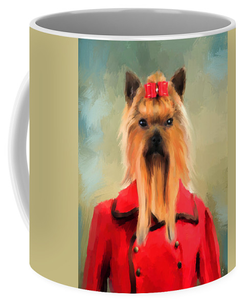 Yorkie Coffee Mug featuring the painting Chic Yorkshire Terrier by Jai Johnson
