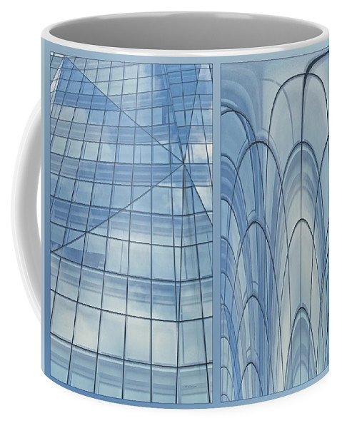 Chicago Coffee Mug featuring the photograph Chicago Abstract Before And After Blue Glass 2 Panel by Thomas Woolworth