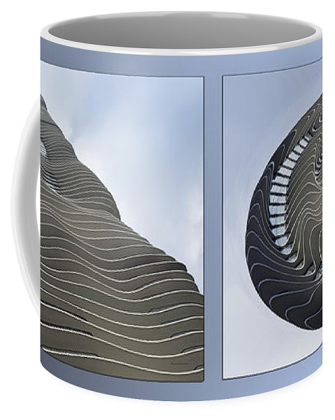 Chicago Coffee Mug featuring the photograph Chicago Abstract Before And After Radisson Blu Hotel 2 Panel by Thomas Woolworth