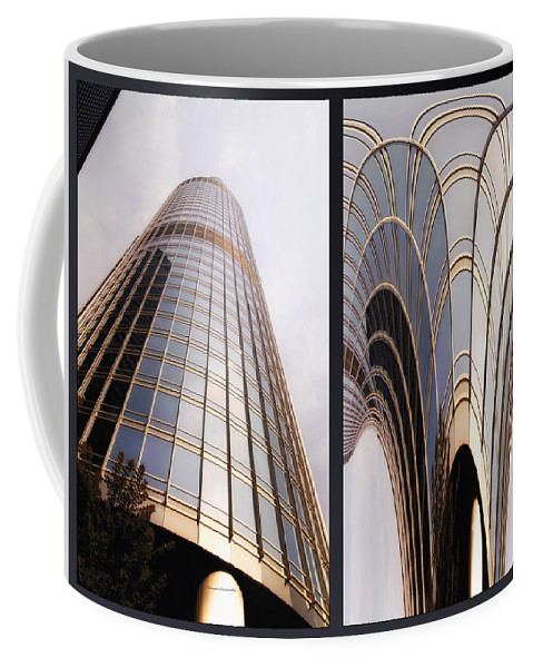 Chicago Coffee Mug featuring the photograph Chicago Abstract Before And After Sunrays On Trump Tower 2 Panel by Thomas Woolworth