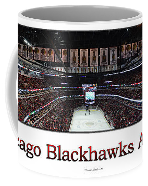 Chicago Blackhawks Coffee Mug featuring the photograph Chicago Blackhawks At Home Panorama White by Thomas Woolworth