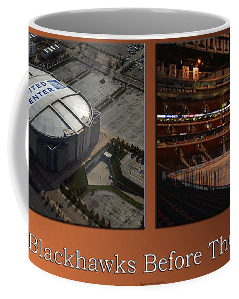 Chicago Blackhawks Coffee Mug featuring the photograph Chicago Blackhawks Before The Gates Open Interior 2 Panel Tan by Thomas Woolworth