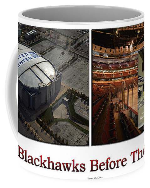 Chicago Blackhawks Coffee Mug featuring the photograph Chicago Blackhawks Before The Gates Open Interior 2 Panel White 02 by Thomas Woolworth