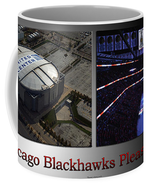 Chicago Blackhawks Coffee Mug featuring the photograph Chicago Blackhawks Please Stand 2 Panel Sb by Thomas Woolworth