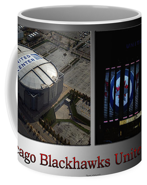 Chicago Blackhawks Coffee Mug featuring the photograph Chicago Blackhawks United Center 2 Panel Sb by Thomas Woolworth
