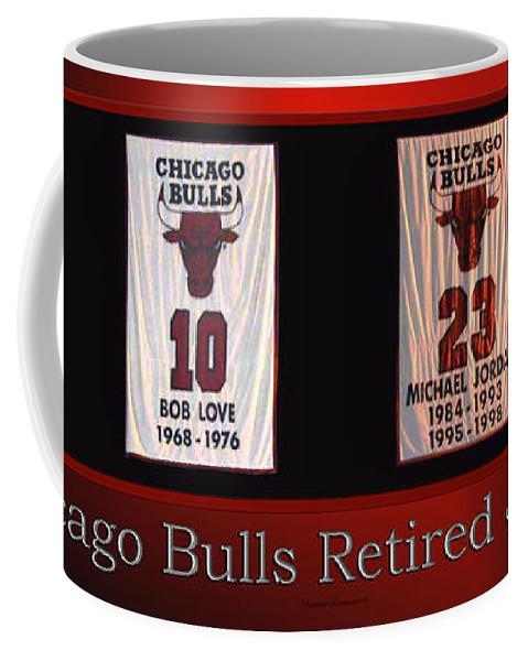 on sale f8f73 e528c Chicago Bulls Retired Jerseys Banners Coffee Mug