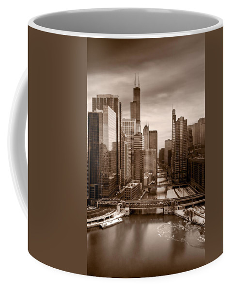 Train Coffee Mug featuring the photograph Chicago City View Afternoon B And W by Steve Gadomski