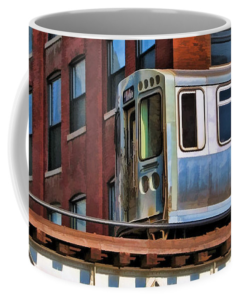 Chicago Coffee Mug featuring the painting Chicago El And Warehouse by Christopher Arndt