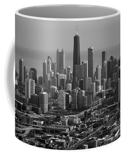 Black And White Coffee Mug featuring the photograph Chicago Looking East 01 Black And White by Thomas Woolworth