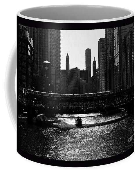 Cityofchicago Coffee Mug featuring the photograph Chicago Morning Commute - Monochrome by Frank J Casella