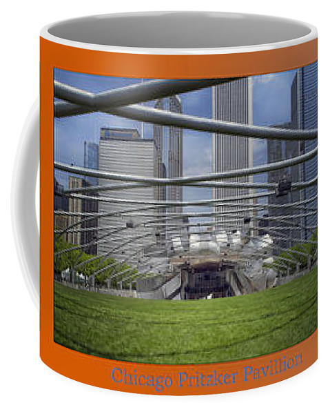 Chicago Coffee Mug featuring the photograph Chicago Pritzker Music Pavillion Triptych 3 Panel by Thomas Woolworth