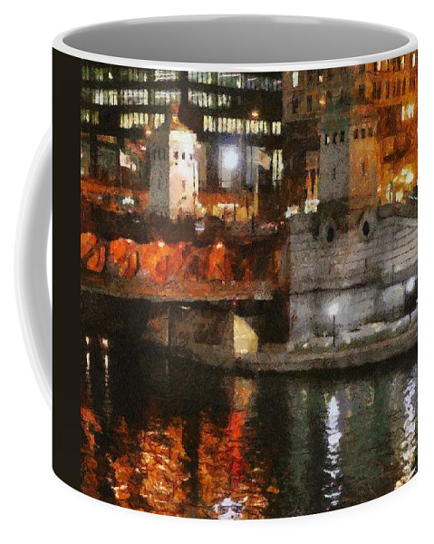 Bridge Coffee Mug featuring the painting Chicago River At Michigan Avenue by Jeffrey Kolker