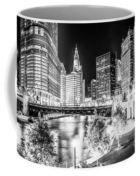 America Coffee Mug featuring the photograph Chicago River Buildings at Night in Black and White by Paul Velgos