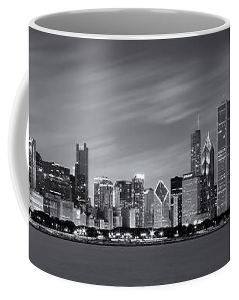 3scape Coffee Mug featuring the photograph Chicago Skyline at Night Black and White Panoramic by Adam Romanowicz