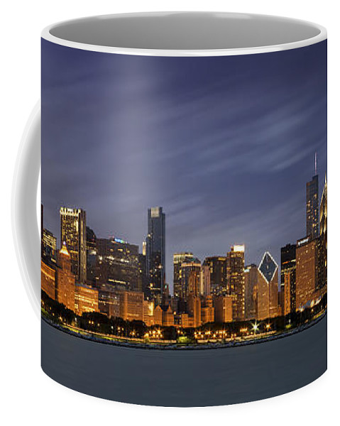 3scape Coffee Mug featuring the photograph Chicago Skyline At Night Color Panoramic by Adam Romanowicz
