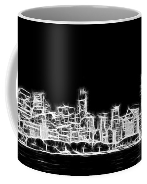 3scape Coffee Mug featuring the photograph Chicago Skyline Fractal Black And White by Adam Romanowicz