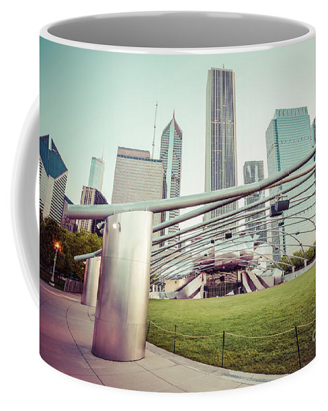 America Coffee Mug featuring the photograph Chicago Skyline With Pritzker Pavilion Vintage Picture by Paul Velgos