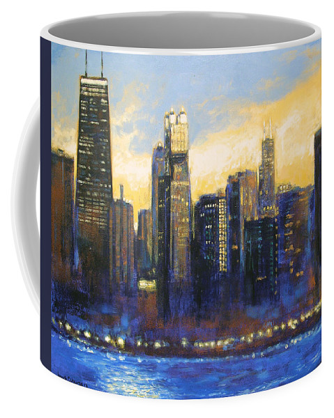 Chicago Skyline Coffee Mug featuring the painting Chicago Sunset Looking South by Joseph Catanzaro
