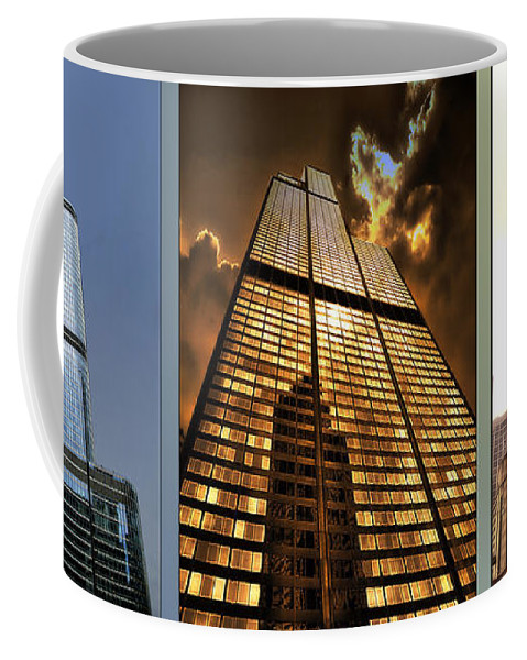 Chicago Coffee Mug featuring the photograph Chicago Tall Shoulders Trump Sears 333 W Wacker Triptych 3 Panel 01 by Thomas Woolworth
