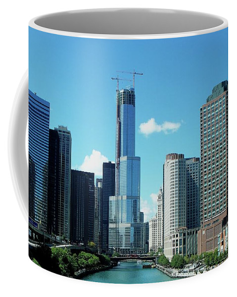 Cities Coffee Mug featuring the photograph Chicago Trump Tower Under Construction by Thomas Woolworth