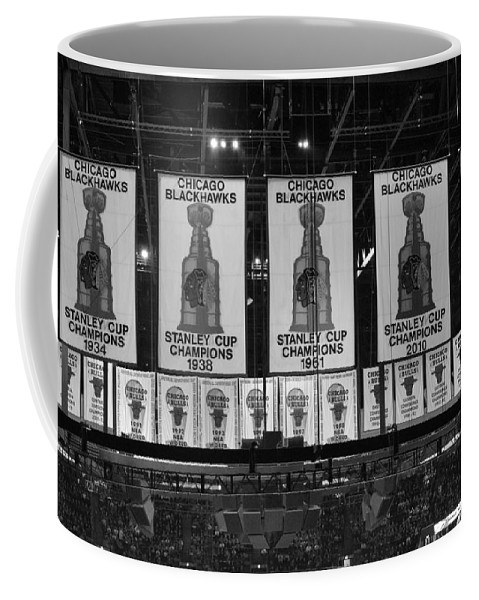 Chicago Blackhawks Coffee Mug featuring the photograph Chicago United Center Banners Bw by Thomas Woolworth