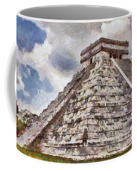 Yucatan Coffee Mug featuring the painting Chichen Itza by Jeffrey Kolker