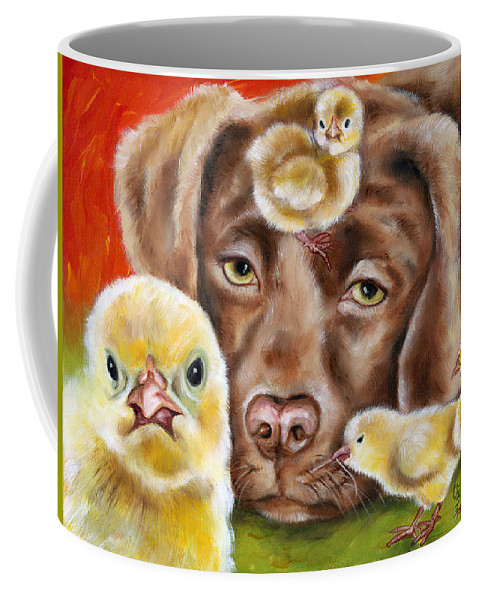 Funny Coffee Mug featuring the painting Chick sitting afternoon by Hiroko Sakai