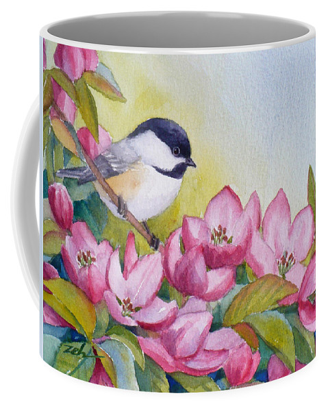 Bird Coffee Mug featuring the painting Chickadee And Crabapple Flowers by Janet Zeh