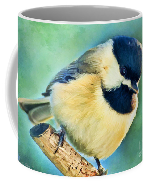 Nature Coffee Mug featuring the photograph Chickadee Greeting Card Size - Digital Paint by Debbie Portwood
