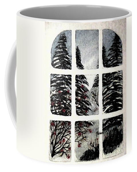 Chickadees And Dogberries Abstraction Coffee Mug featuring the photograph Chickadees And Dogberries Abstraction by Barbara Griffin