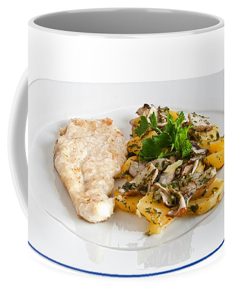 Baked Coffee Mug featuring the photograph Chicken Escalope With Potatoes And Mushroom by Antonio Scarpi