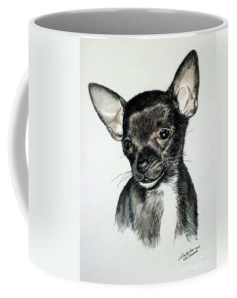 Dog Coffee Mug featuring the painting Chihuahua Black 2 by Christopher Shellhammer