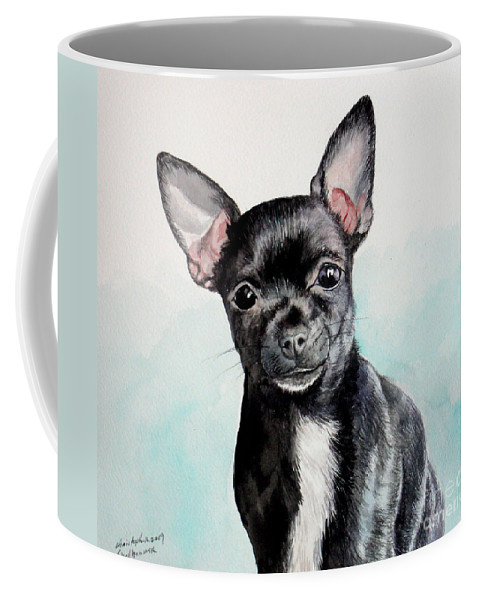 Dog Coffee Mug featuring the painting Chihuahua Black by Christopher Shellhammer