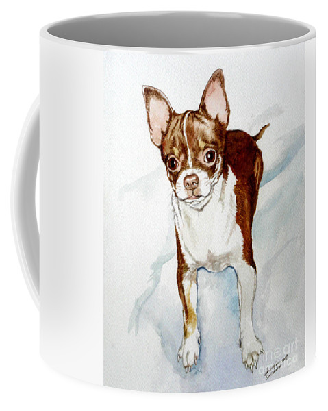 Dog Coffee Mug featuring the painting Chihuahua White Chocolate Color. by Christopher Shellhammer