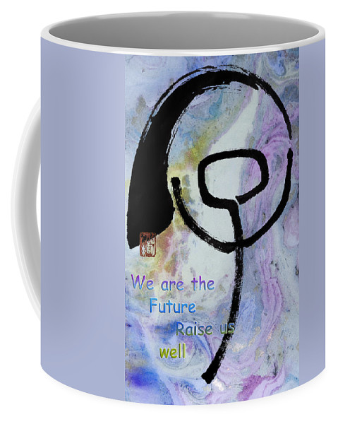 Zen Coffee Mug featuring the mixed media Children Raise Us Well by Peter v Quenter