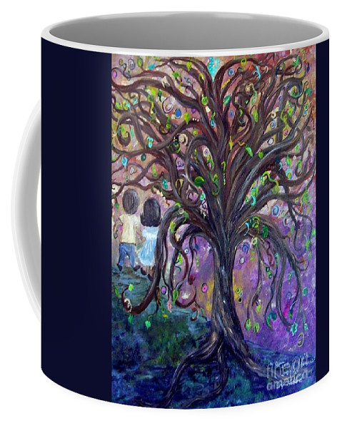 Child Coffee Mug featuring the painting Children Under The Fantasy Tree With Jackie Joyner-kersee by Eloise Schneider
