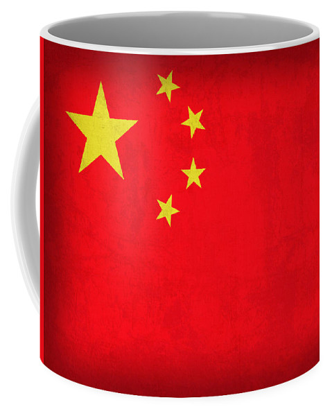 China Flag Vintage Distressed Finish Coffee Mug featuring the mixed media China Flag Vintage Distressed Finish by Design Turnpike