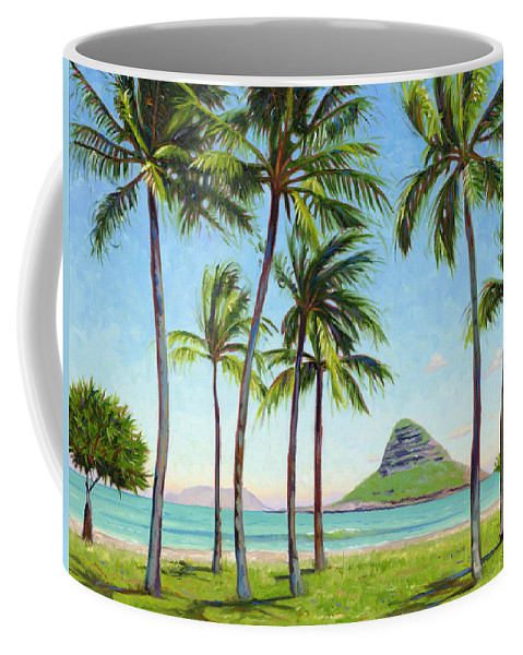 Chinamans Hat Coffee Mug featuring the painting Chinamans Hat - Oahu by Steve Simon