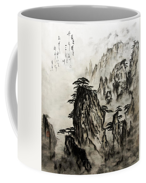 Calm Coffee Mug featuring the painting Chinese Mountains With Poem In Ink Brush Calligraphy Of Love Poem by Peter v Quenter