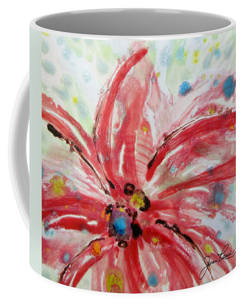 Red Flower Coffee Mug featuring the painting Chinese Red Flower by Joan Reese