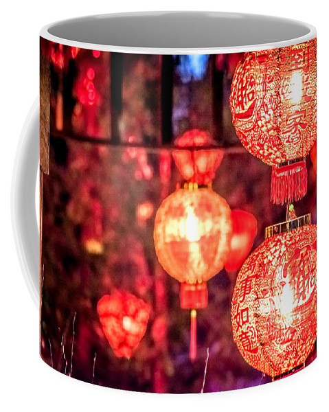 Art Coffee Mug featuring the photograph Chinese Red Lantern by Jijo George